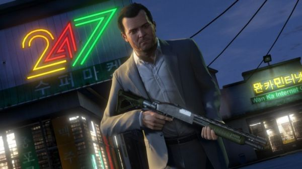 Michael is ready to bring the noise in GTA 5 with his boomstick